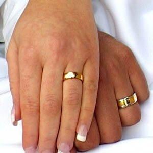 Обручальное кольцо на пальце